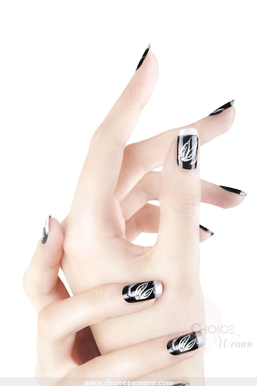 black and silver long nail designs