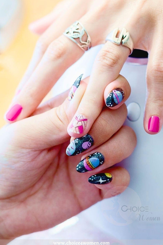 Moon And Star Nails Art