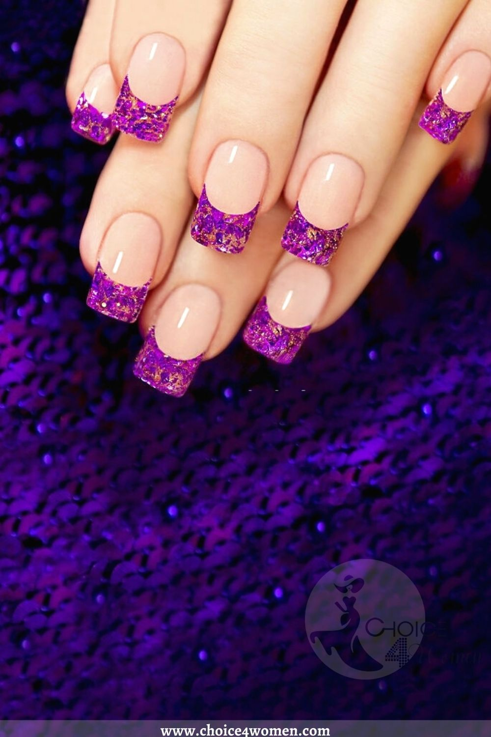 Simple Nail Designs in pink and purple