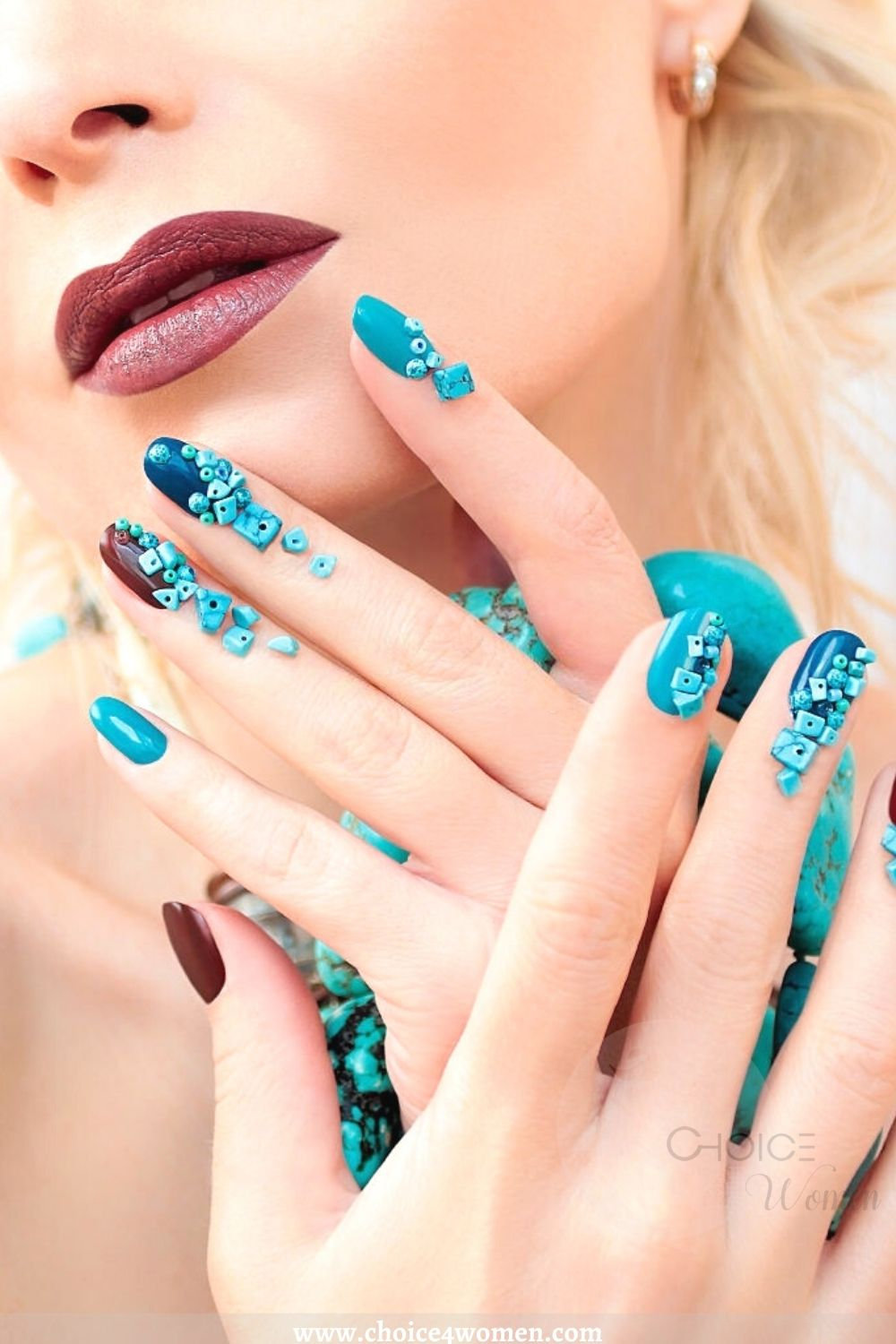 Turquoise long nail designs