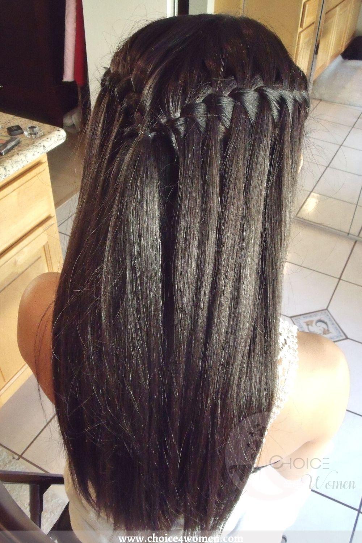 Waterfall Crown Braid for long hairstyles