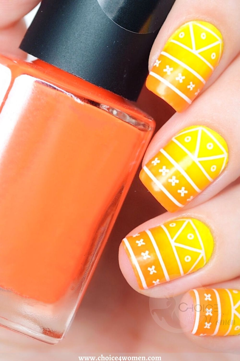 Simple Nail Designs in white and orange
