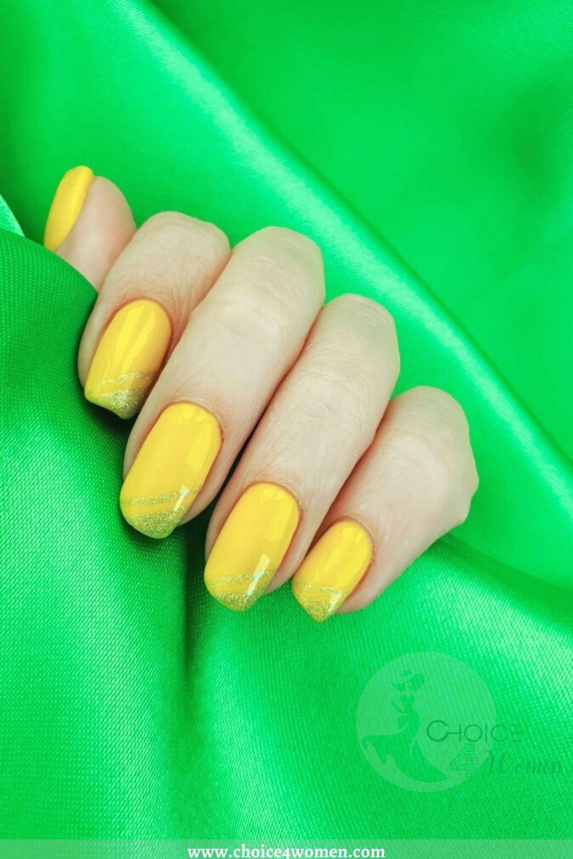 yellow long nail designs